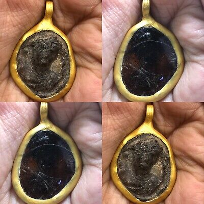 Unique Rare Ancient Roman glass King Face 300 BC Gold Cap Pendant