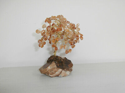 Bonsai Tree Sculpture Amber Coloured Gemstones Metal Branches And Rock Base