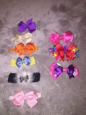 BABY girl Headband Bundle. One Size. 9 Bows