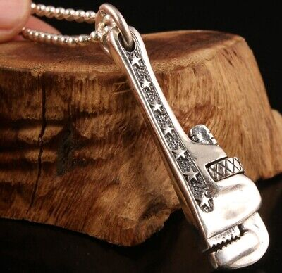 China Solid Silver Pendant Statue Wrench Hand-Carved Mascot Gift Old