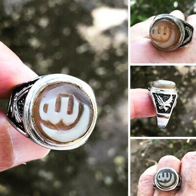 Agate  خاتم عقيق منقوش الله وهلالstone engraved Allah silver Plated  man ring