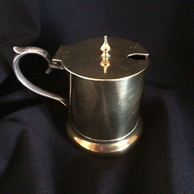 Antique Arts And Crafts  Brass / Pewter Small Mustard Jug