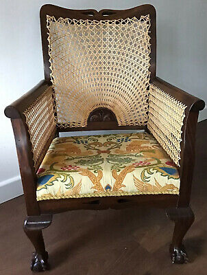 Arts & Crafts, Walnut Armchair, With Bergere Back & Sides On Ball & Claw Feet