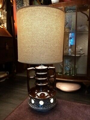 Large Vintage Retro Kitsch 1960s West German Fat Lava Lamp with Original Shade