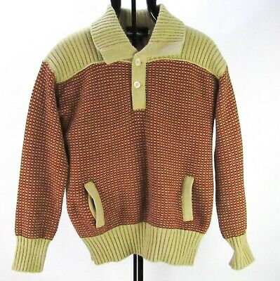 Vintage 70s Silverman's Mod Knit Pullover Sweater Men L POCKETS Brown Tan Chunky