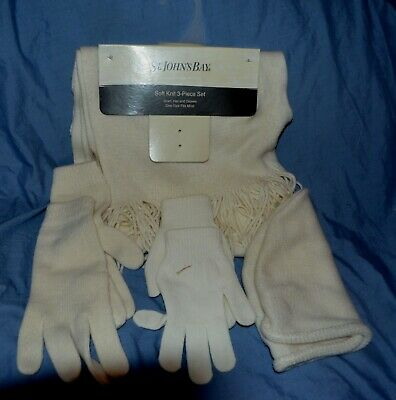 New St. John's Bay Soft Knit Set Scarf Hat Gloves Off White One Size Fits All Ta