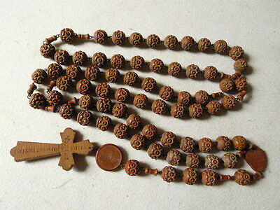 HUGE BEAUTIFUL QUALITY ANTIQUE FRENCH CARVED WOODEN ROSARY LOURDES c1890