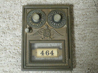Antique Corbin Brass Post Office Box Lettered Combination Door with Eagle -Nice