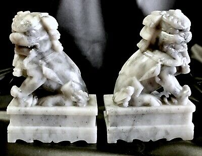 Antique Pair of Hand Carved Stone Foo Dog Lion Statues, Bookends