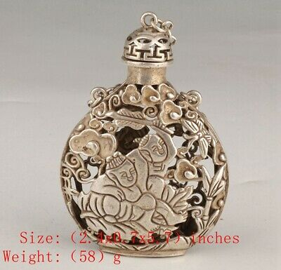 Vintage Chinese Tibetan Silver Snuff Box Pendant Children Mascot Decorative Gift