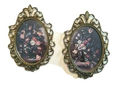 2 Ornate Metal Brass Italian Oval Picture Frames Vintage Made in Italy 10H x 7W