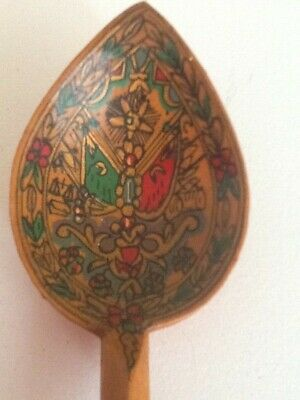 Antique Ottoman Turkish Stunning Hand Carved & Painted Large Gourd Spoon