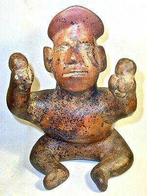 Pre-Columbian SEATED COLIMA MALE FIGURE WITH RATTLES