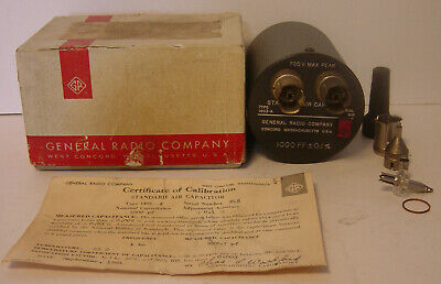 General Radio 1403-A Standard Air Capacitor 3 Terminal Original Box Certificate