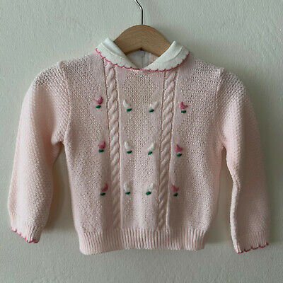 Vintage Baby Girls Knit Sweater Size 18 months Toddler