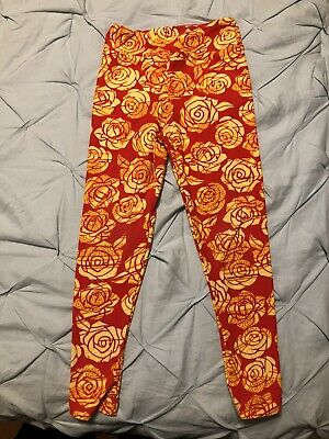 LuLaRoe Kids Leggings S/M Small Medium Red & Yellow Disney Roses Floral