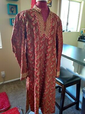 Indian Sherwani Red/Gold, Size 46, Large, w Turban and Gold Drawstring pants
