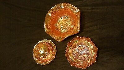 Vintage Imperial Glass, Marigold Open Roses, Butter Dish with Dome 2 bowls set