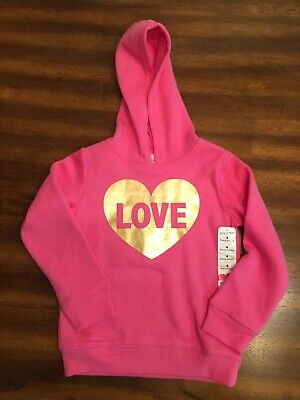 Girls-Fleece Hoodie-Size 4-Pink With Heart-Brand Jumping Beans-New