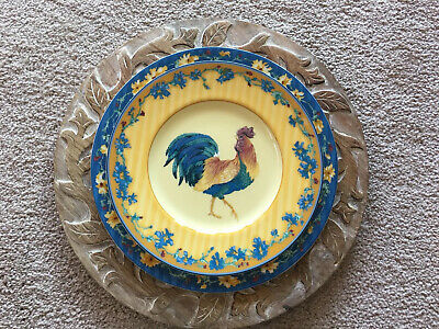 "Fitz And Floyd Coq Du Village Rooster Salad Plates Yellow 9 1/8"" Set of 4"