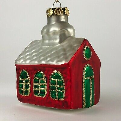 "Blown Glass House or Church Christmas Tree Ornament 3"" W x 2"" D x 3.25"" H"