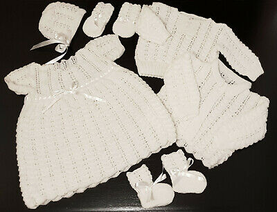 Vintage ~ Six Piece Baby Layette, Dress, Jacket, Jumper, Hat, Mitts, Booties