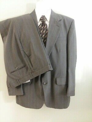 Town Craft Mens Sz 42R Poly/Wool Gray Pin Striped 2 Button Suit - Pants 36 x 30