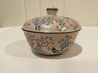 Vintage Chinese Enamel over Copper or Brass Lidded Bowl Birds Flowers Blossoms