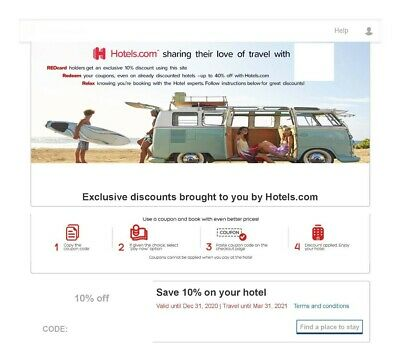 Hotels.com 10% off / Book by 12/31/2020, travel by 03/31/2021