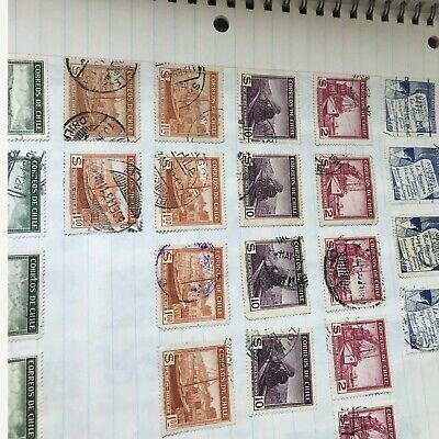 WORLDWIDE Collection Foreign Stamps 1930's - 1950's Album Book on Paper 35 pages