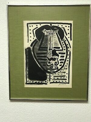 Pablo Picasso Original Ink Wash Watercolor Signed Abstract face Mid Century COOL