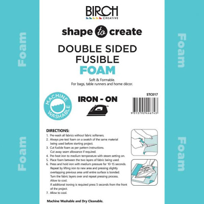Shape to Create Double-Sided Fusible Interfacing Foam, Iron on  - 90cm x1M Birch