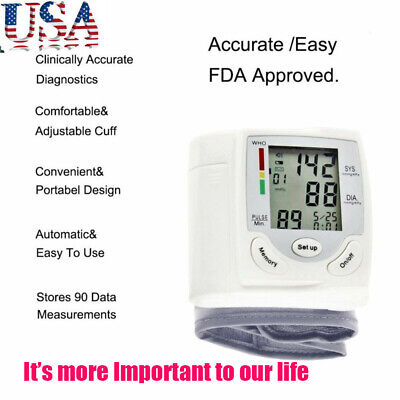 LCD Automatic Digital Cuff Blood Pressure Monitor Heart Beat Rate Pulse Meter US