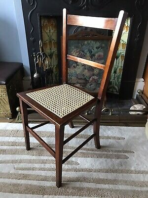 Edwardian Oak Caned Chair Bedroom Hall Desk Antique Retro Vintage Rattan