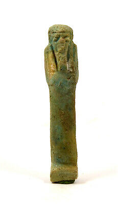 Egypt Late period 26th-30th dynasty green faience shabti ex-Bonhams