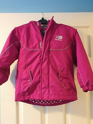 Toddler girls bright pink Karrimor winter jacket with fleecy lining. Age 3-4 yr