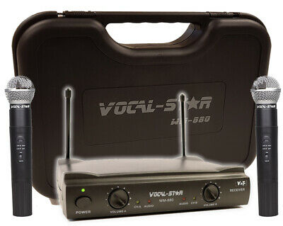 Vocal-Star WM-880 Dual 2 VHF Wireless Cordless Microphones & Carry Case XD