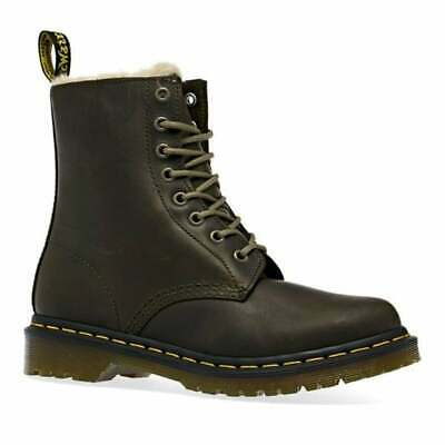 A7 Dr Martens Serena Fur Lined Leather Olive 24989355 Womens Boots All Sizes