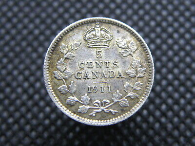 CANADA - 1911 KING GEORGE V - SILVER 5 CENTS COIN - Good Grade (OW01)