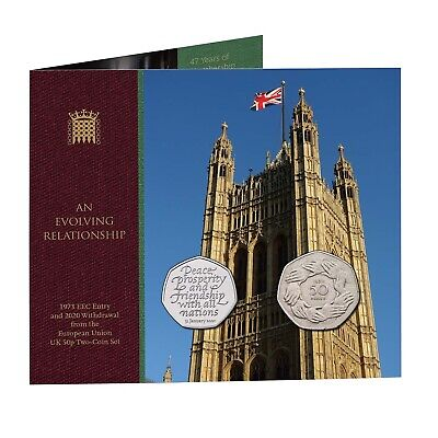 PREORDER 1973 EEC Entry and 2020 Withdrawal EU UK Brexit 50p Two-Coin Set / Pack