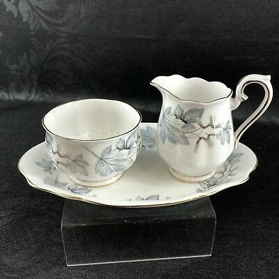 Royal Albert Creamer Sugar Tray Silver Maple Bone China England Cream Pitcher