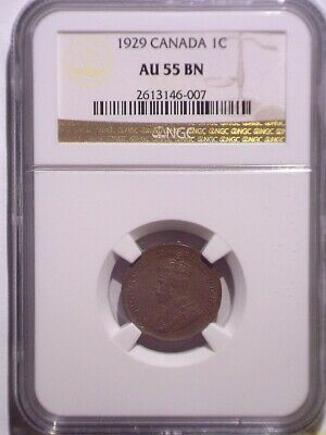 1929 NGC AU55BN Canada Small One cent - Clean Holder - Penny - 1C