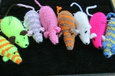 Knitted Mouse on Elastic ideal Cat Toy various Colour's to choose from