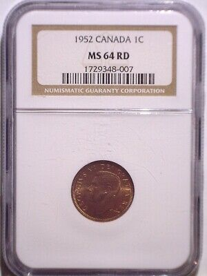 1952 NGC MS64RD Canada Small One Cent - FULL RED and LUSTER - UNC - Penny - 1C