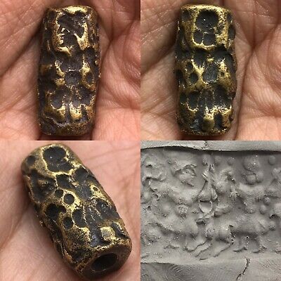Wonderful Old Unique intaglio Roman bronze small BEAD