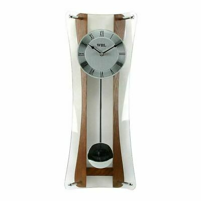 Stunning Widdop Oak And Glass Curved Pendulum Wall Clock Antique Vintage Home