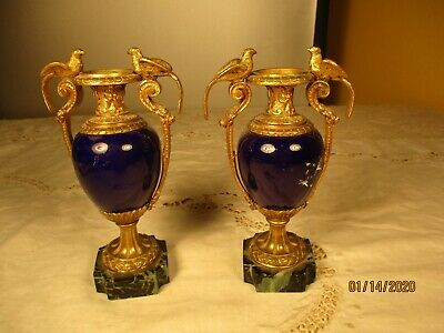 Vintage Pair of Brass and Cobalt Blue Handled Urns With Birds Marble Base Nice!