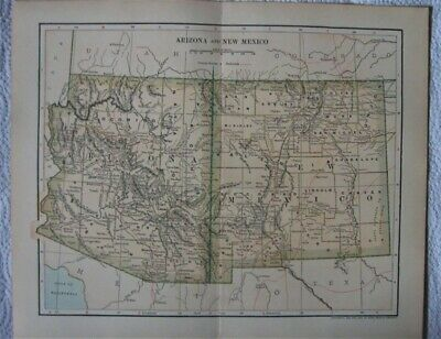 Antique Map of  Arizona and New Mexico - 1902 New International Encyclopedia