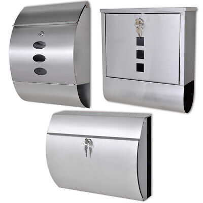 New Stainless Steel Mailbox Heavy Duty Letterboxes with Newspaper Holder 2 Keys