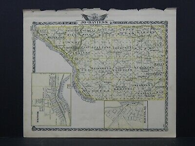 Map of Jo-Daviess County & Carroll County-Reversible Illinois, 1876 L26 #116